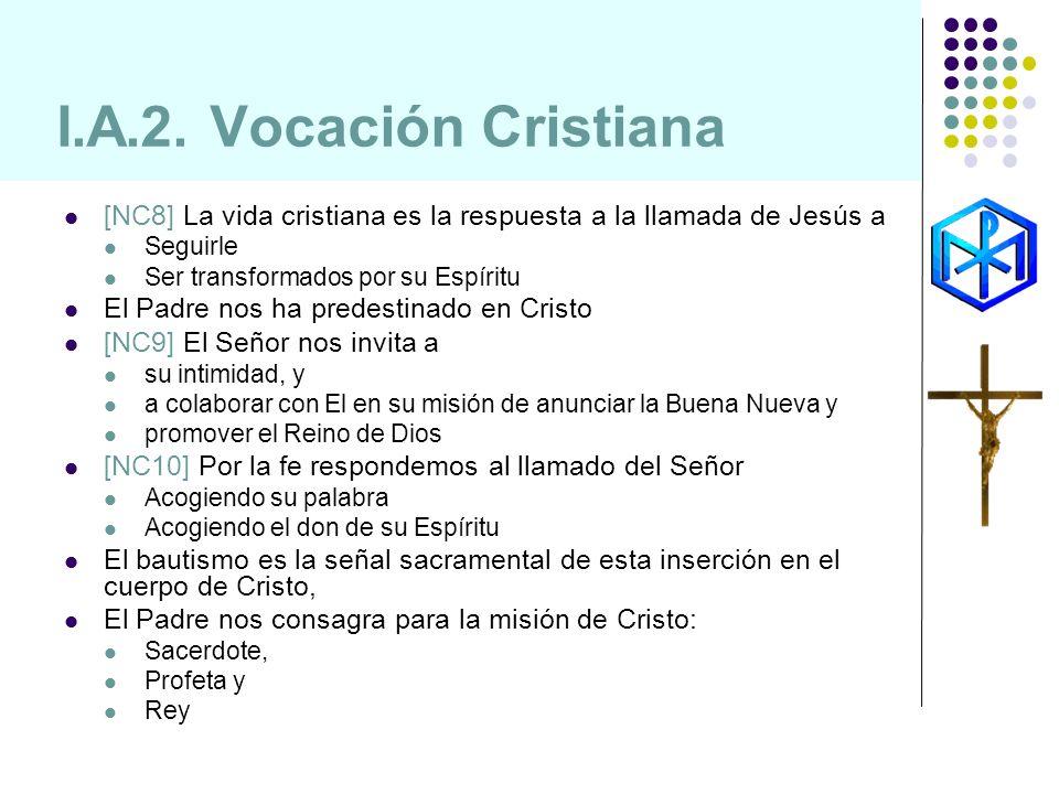 I.A.2. Vocación Cristiana[NC8] La vida cristiana es la respuesta a la llamada de Jesús a. Seguirle.